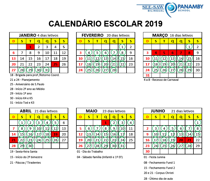 calendário 20191